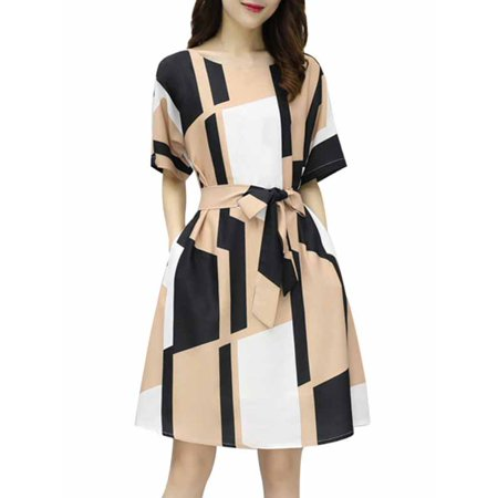 Women Lady Vintage Stripe Printed Slim Dress Cocktail Party -