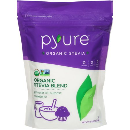 (2 Pack) Pyure Organic Stevia Blend Sweetener, 16 (Nunaturals White Stevia Powder Packets)