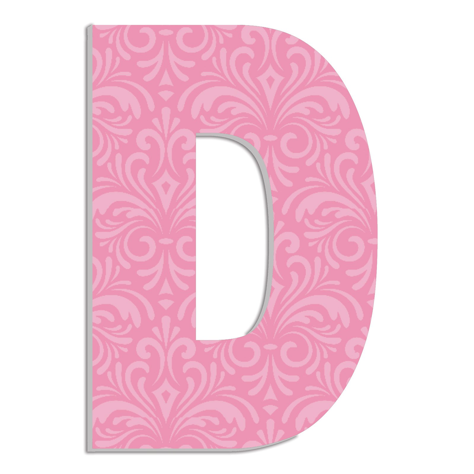 The Stupell Home Decor Collection Stupell Industries Oversized Pink Damask Hanging Initial