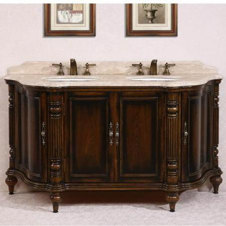 Legion furniture white travertine top antique brown 67 inch double sink bathroom vanity for Antique white double bathroom vanity