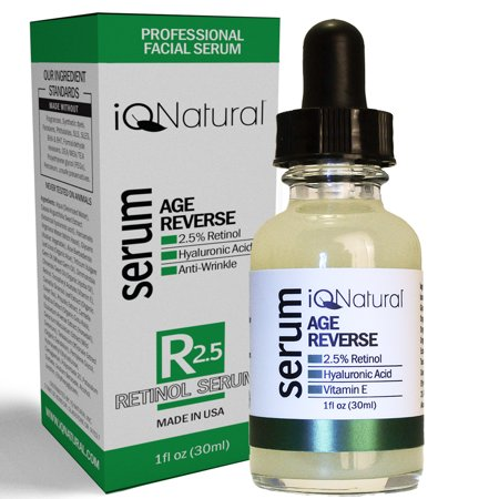 IQ Natural Active Clinical Strength Retinol Collagen Building Serum - Anti Aging Cream Wrinkle Moisturizer - Hyaluronic Acid, Vitamin E - 72%