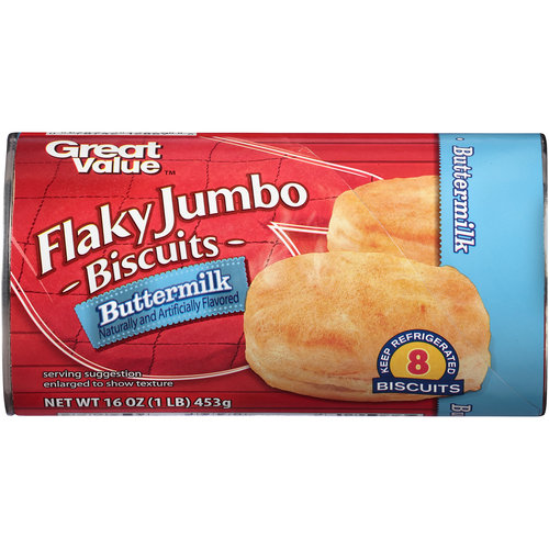 Great Value Buttermilk Flaky Jumbo Biscuits, 8 count, 16 oz