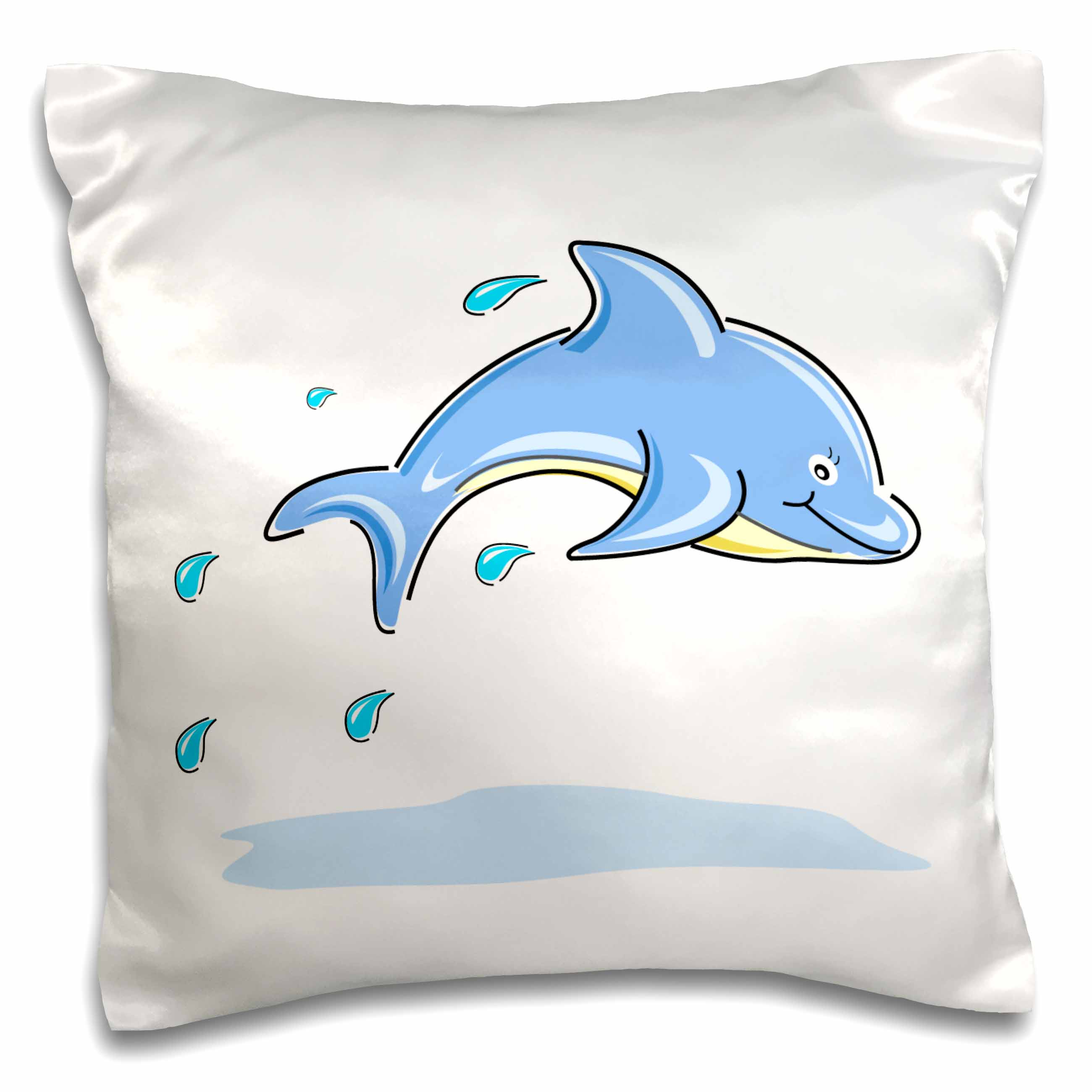 3dRose A Jumping Dolphin In Blue, Pillow Case, 16 by 16-inch