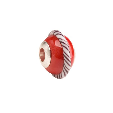 Red Beauty With Stripe Ring Large Hole Beads Murano Lampwork European Glass Crystal Charms Beads Spacers Fit Pandora Troll Chamilia Carlo Biagi Zable Snake Chain Charm Bracelets 11.5x17.5mm 4pcs