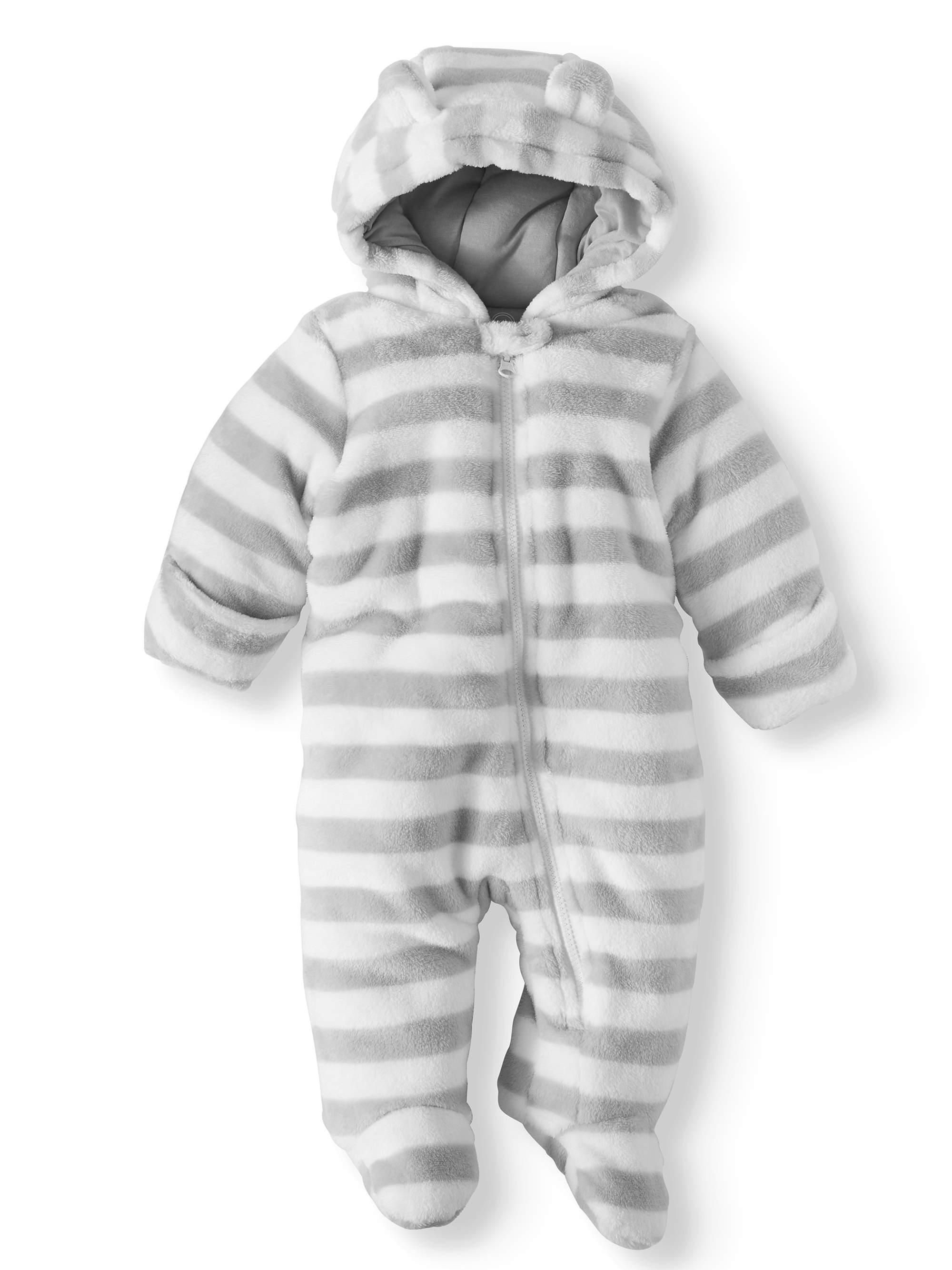 Bear Ear Minky Plush Snowsuit Pram (Baby Boys)