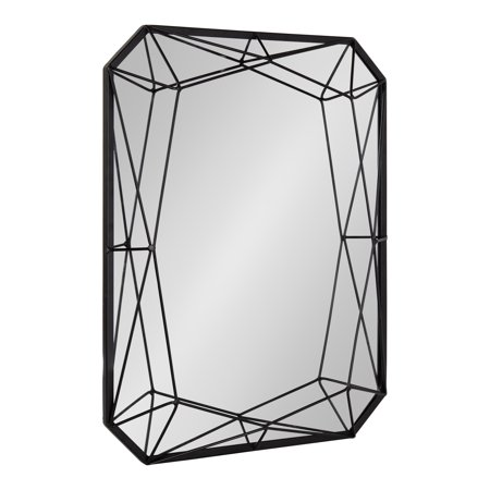 Kate and Laurel Keyleigh Modern Glam Geometric Shaped Metal Accent Wall Mirror, Black - Shaped Mirrors