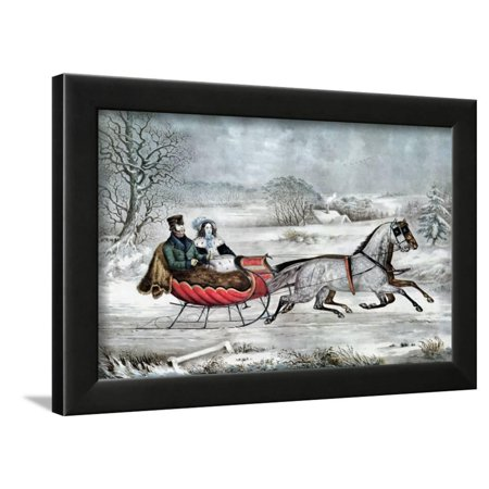 The Road - Winter (Currier and His 2nd Wife, Laura Ormsbee, 1843) Framed Print Wall Art By Currier &