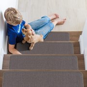 """Indoor Non Slip Carpet Stair Treads 8.5""""x26"""" Solid Set of 7 in Grey"""