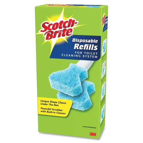 "Scotch-brite Disposable Toilet Scrubber Refill - 3"" - 10/pack - Blue (557R106)"