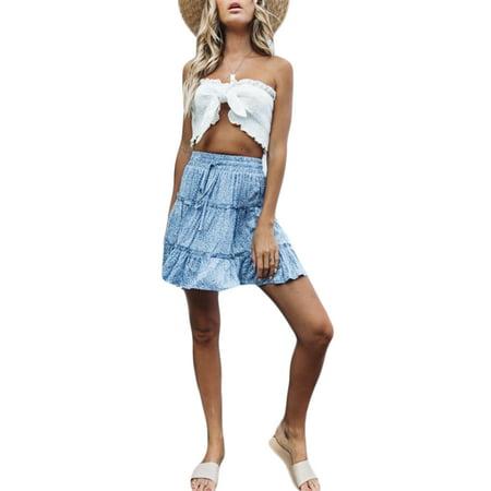 A-Line Ruffles Beach Summer Skirts Women Sexy Boho Mini Skirts Retro Casual High Waist Girls Short Dress Lace-Up Print New Styles Yellow Floral - Floral Print Ruffle Skirt