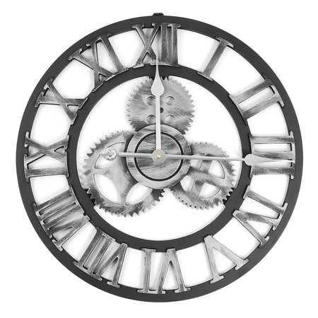 Roman Decor (19 Inch Antique Roman Numerals Silent Wall Clock Rustic Wheel Gear Wooden)