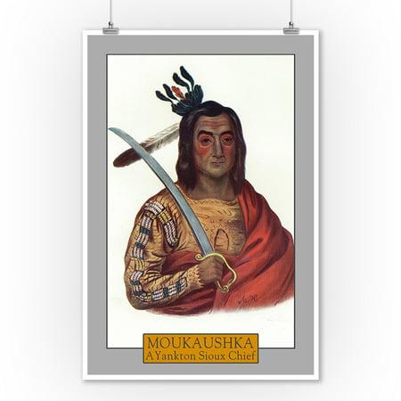 Moukaushka - Portrait of a Yankton Sioux Chief (9x12 Art Print, Wall Decor Travel Poster)](Sioux Shop)