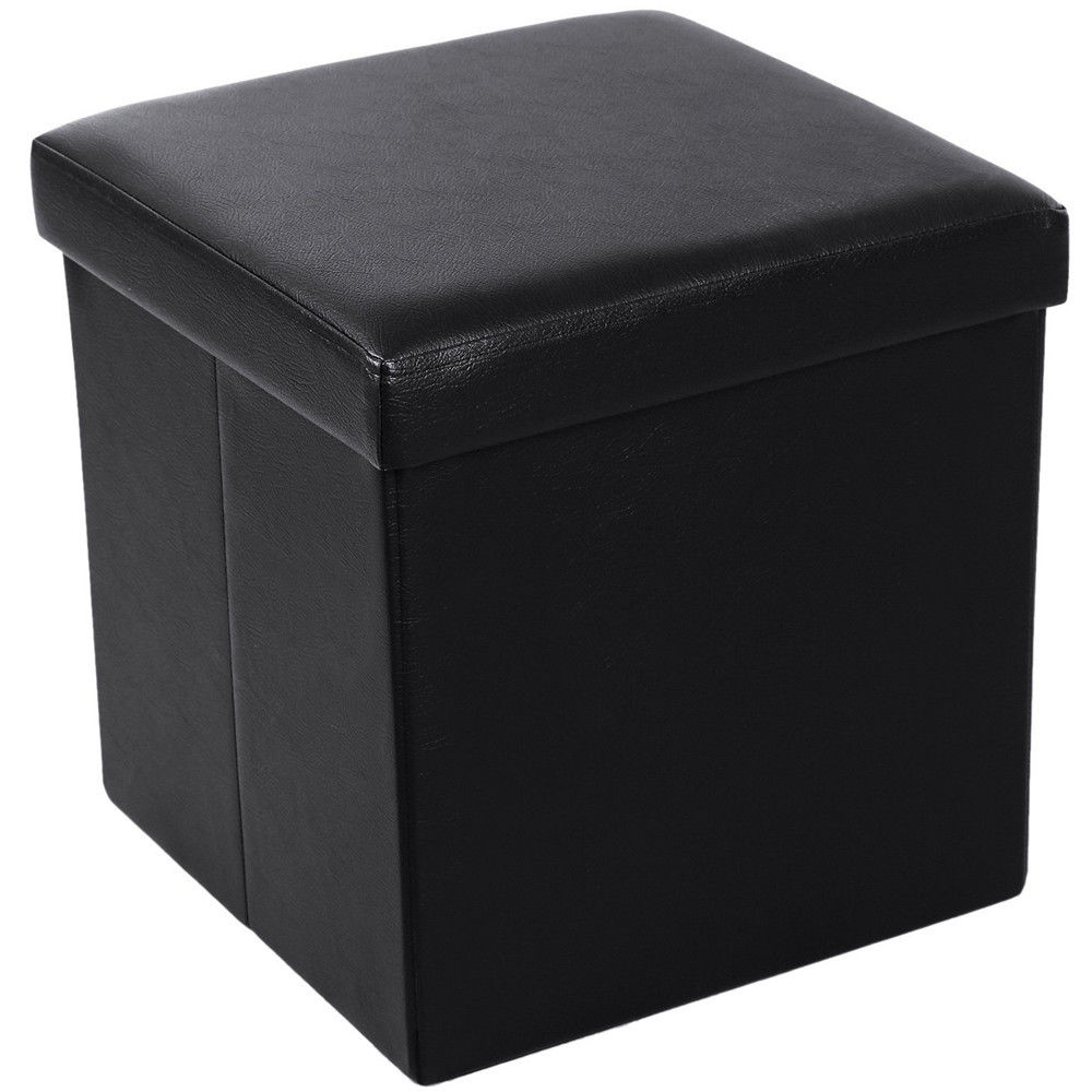 Ktaxon Leather Ottoman Footstool Folding Cube Footrest Storage Stool Box  Seat Black