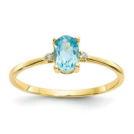 Roy Rose Jewelry 10K Yellow Gold Genuine Diamond & Blue Topaz Birthstone Ring - Size: 6