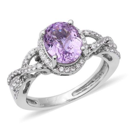 Halo Ring Sterling Silver Platinum Plated Kunzite Zircon Ct - Kunzite Ring