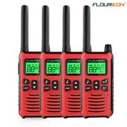 FLOUREON 4 Packs Walkie Talkies Two Way Radios 22 Channel 3000M (MAX 5000M open field) UHF Outdoor Long Range Handheld Talkies Talky for NERF Kids Adults(Red)
