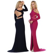 LONG SLEEVE SIMPLE YET PROM EVENING GOWN