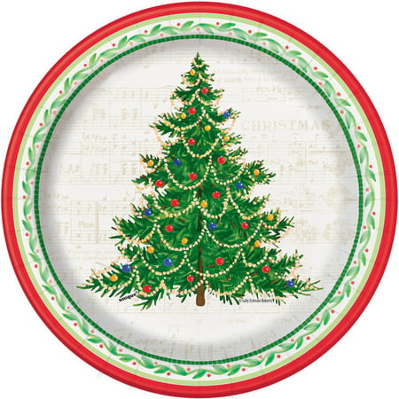 Classic Christmas Tree Paper Plates, 7 in, 8ct for $<!---->
