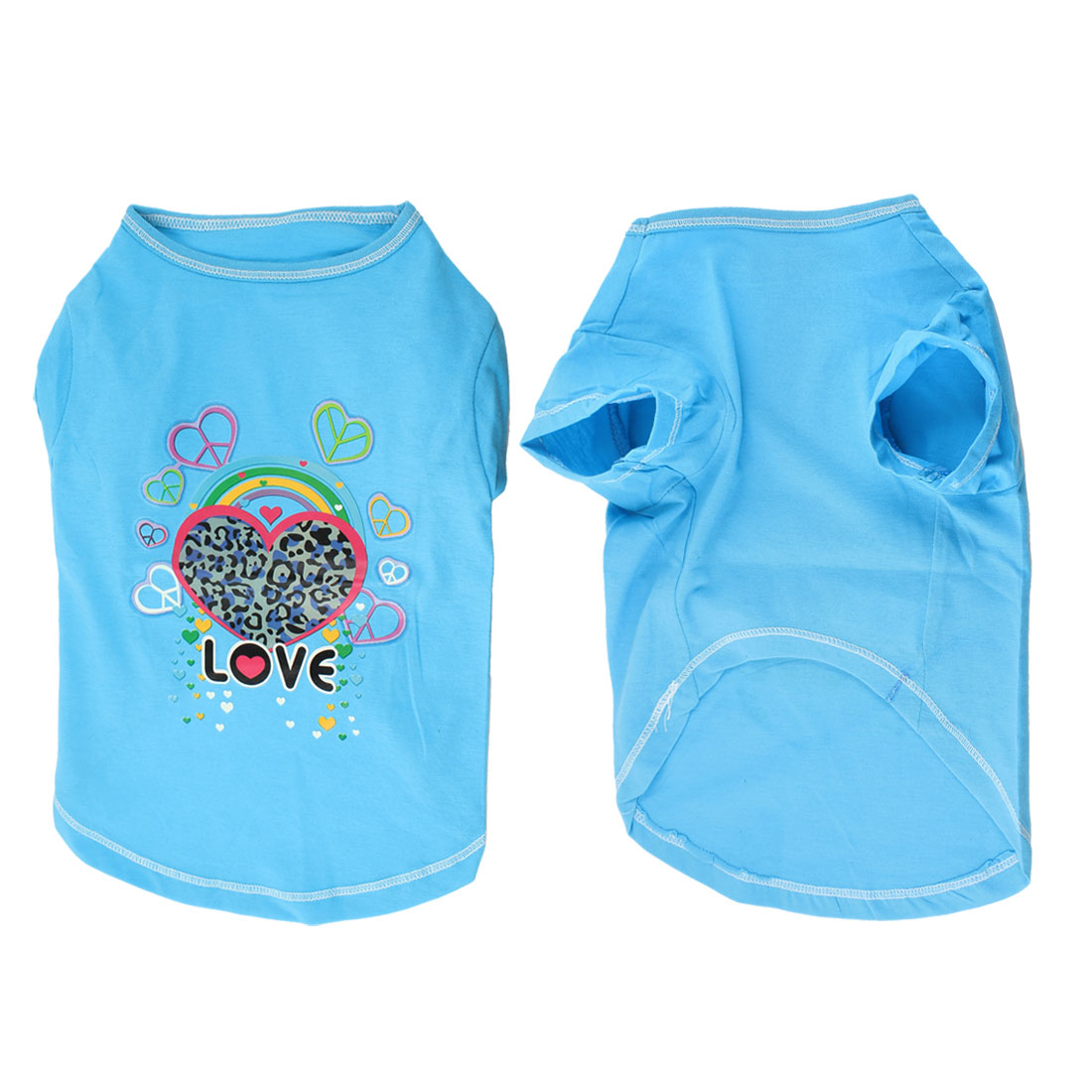 Unique Bargains Summer Round Neck Heart Printed Pet Dog Yorkie Cat Clothes T-Shirt Blue S