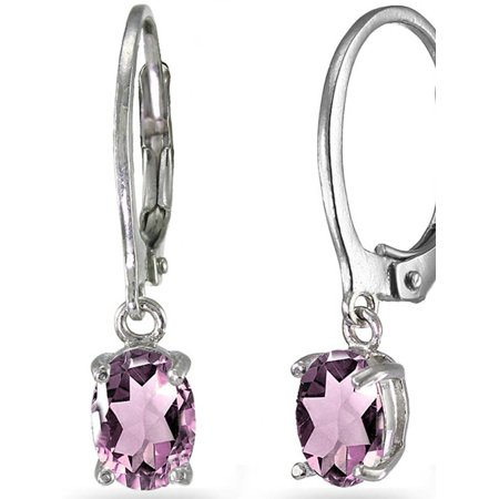 Floral Dangle Leverback Earrings (Simulated Alexandrite Sterling Silver 7mm x 5mm Oval Dangle Leverback Earrings)