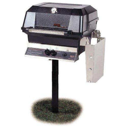 Mhp Gas Grills Jnr4dd Natural Gas Grill W  Stainless Grids On In-ground Post by