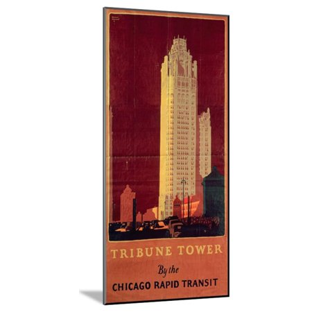 Tribune Tower, Published by Chicago Rapid Transit Company, Usa, 1925 (Colour Litho) Wood Mounted Print Wall Art By Norman Erickson