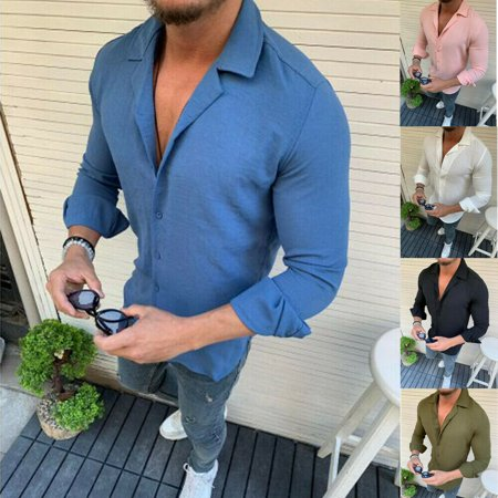 Smart Casual Shirts - Mens Linen Slim Fitted Autumn Henley T-shirt Top Long Sleeve Casual Smart Shirts