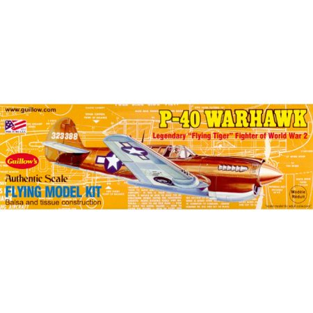 Guillow's Curtiss P-40 Warhawk Balsa Wood Model Airplane Kit WWII Plane  - Wood Airplane