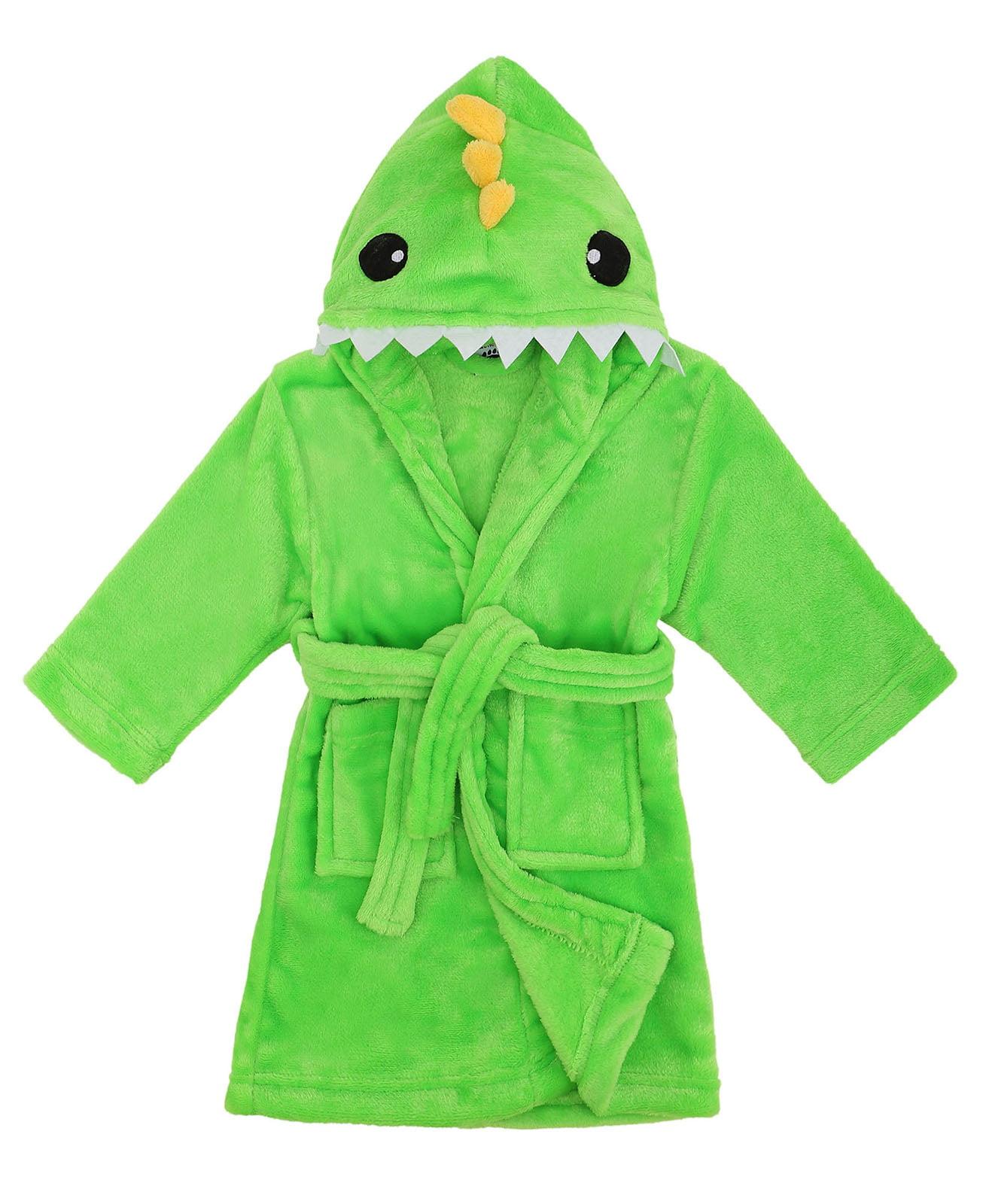 Boys Girls Plush Animal Hooded Bath Robe Pajamas Bathrobe Nightgown Sleepwear
