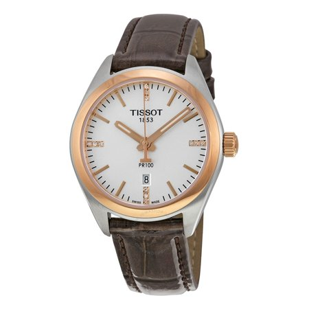 PR100 Silver Dial Brown Leather Ladies Watch T1012102603600