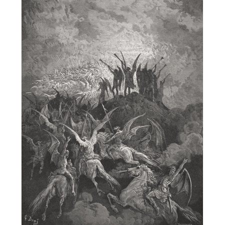 Illustration By Gustave Dore 1832-1883 French Artist And Illustrator For Paradise Lost By John Milton Book I Lines 757 To 759 Canvas Art - Ken Welsh  Design Pics (13 x