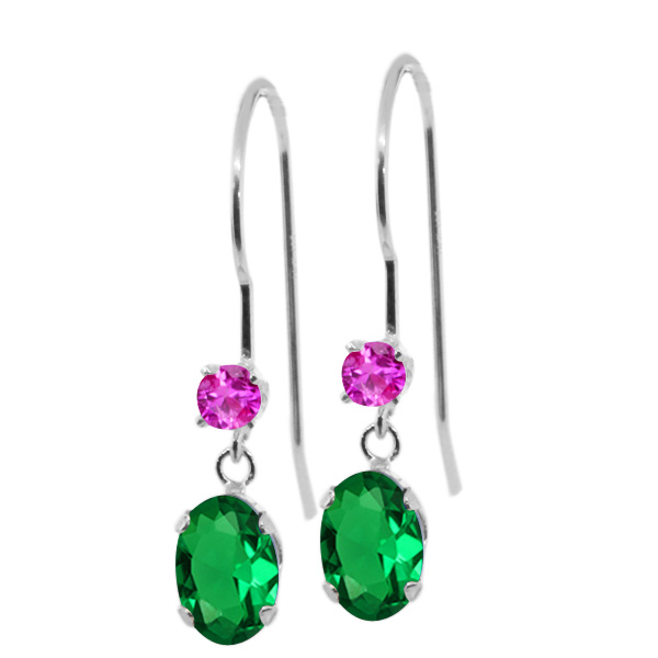 0.96 Ct Oval Green Nano Emerald Pink Sapphire 14K White Gold Earrings