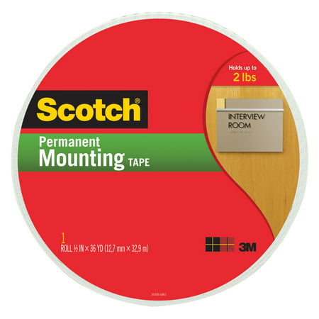 Scotch Double Sided Permanent Mounting Tape, 3/4 in W X 38 yd L, White