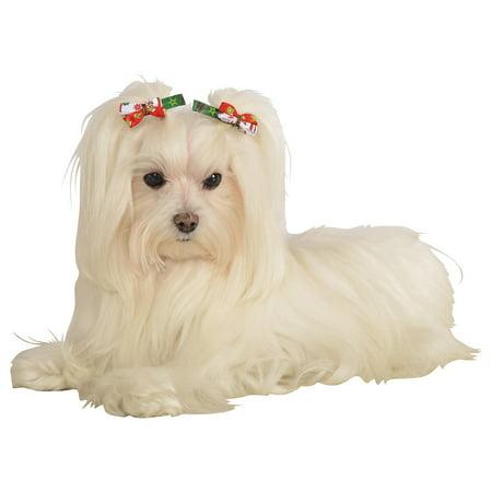 Festive Hair Bows Pet Costume Accessory