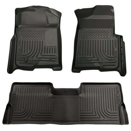 Husky Liners Front & 2nd Seat Floor Liners Fits 09-14 F150 SuperCrew Black Second Seat Floor Liners