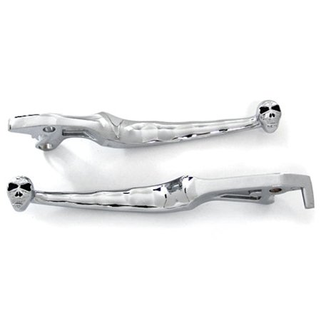 Krator (1990-2009) Suzuki Intruder 800 1400 1500 Boulevard S50 S83 C90 Billet Aluminum Chrome Brake and Clutch Skull Hand Grips Levers Left and Right One Pair Motorcycle
