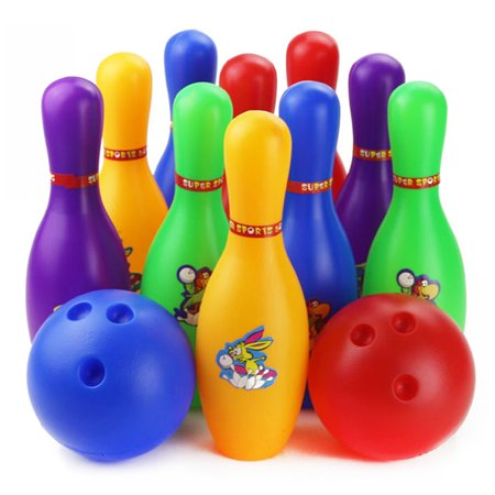 12 Piece Kids Bowling Set Pins Bowling Balls Children Kids Educational Toy Home Indoor Outdoor Sport(Large) Colorful Cartoon Pattern ()