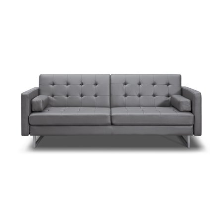 Whiteline Modern Living Gray Giovanni Faux Leather Contemporary Sofa Bed