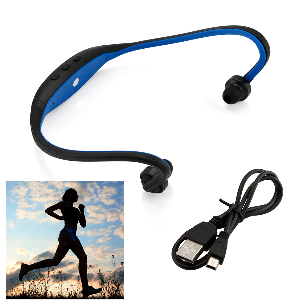 Sports Wireless Stereo Bluetooth Wrap Around Earphones Headset Headphone For Samsung iPhone Cellphone PC - Blue