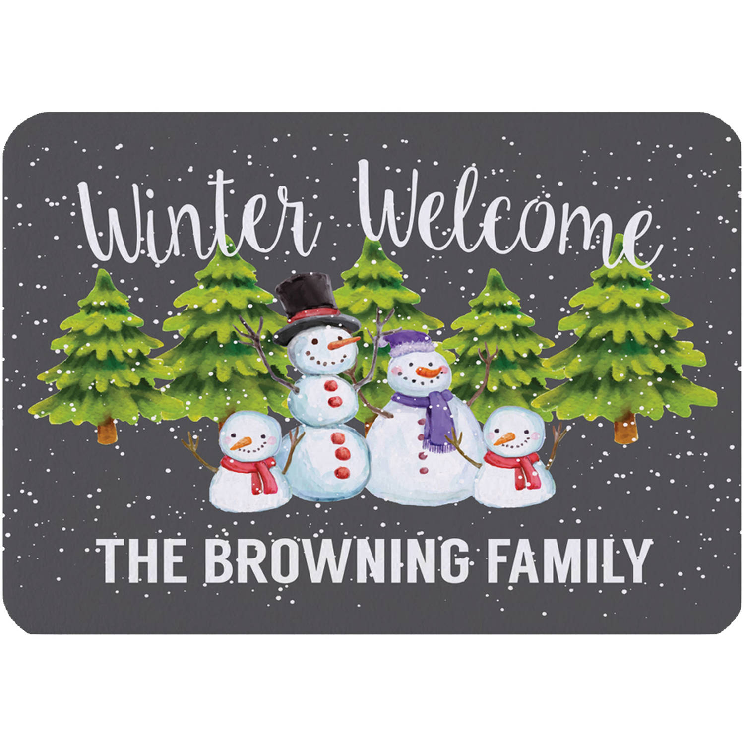 "Personalized Winter Welcome Indoor Floor Mat , 26.5"" x 17.5"""