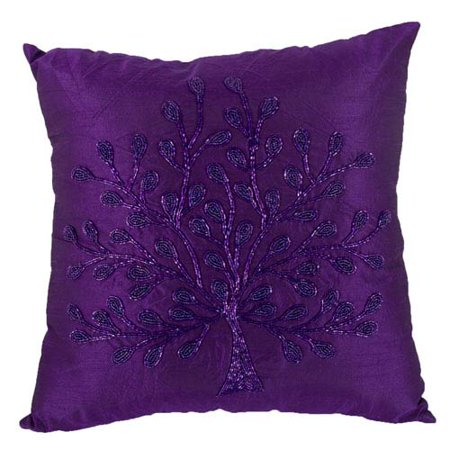Purple 18-Inch Poly Silk Beaded Pillow](Beaded Pillow)