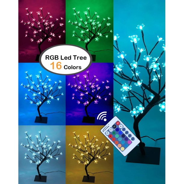 Cherry Blossom Bonsai Tree Eighteen Inch 48 Led Lights Warm White And Color Changing Modes Walmart Com Walmart Com