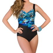 Miraclesuit 363263 Blue Attitude Sanibel Surplice One Piece Swimsuit