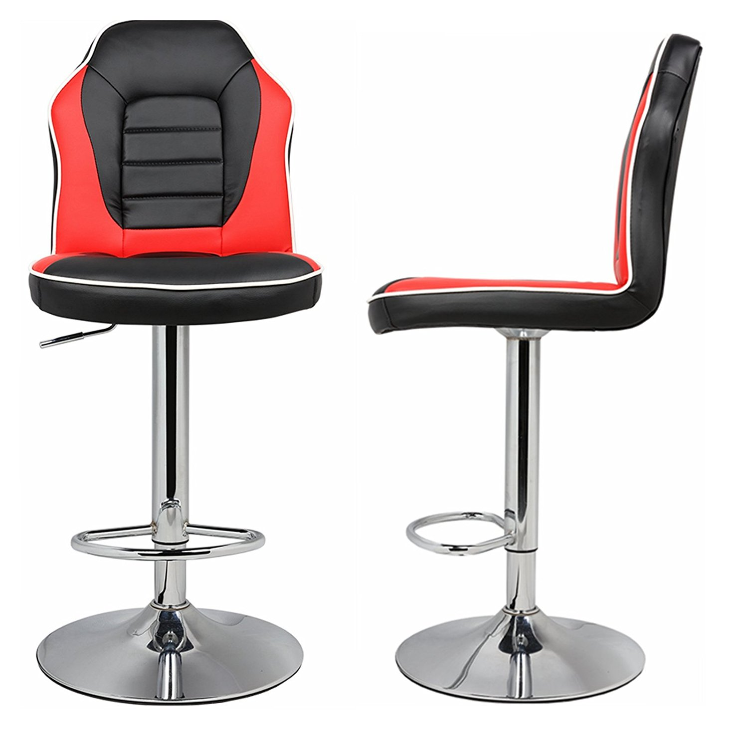 Extra Comfort Modern Racing Seat Bar Stools Chair Adjustable Swivel Mixed Color Set of 2 Black/Red
