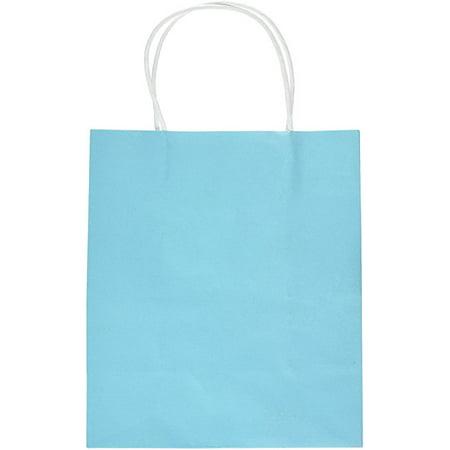 Amscan Party Friendly Plain Medium Kraft Bag, Caribbean Blue, 10