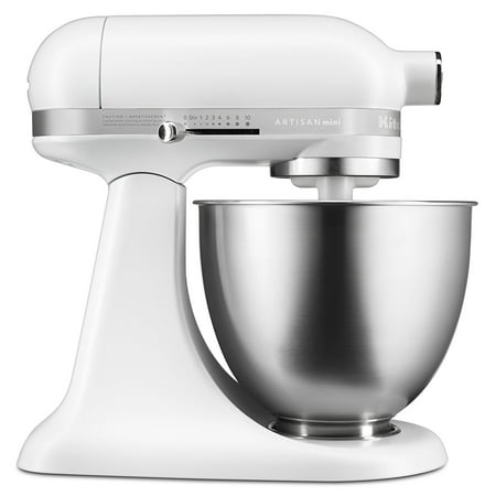 KitchenAid RKSM3311XFW Mini Series Tilt-Head Stand Mixer, 3.5 quart, Matte White (CERTIFIED REFURBISHED)