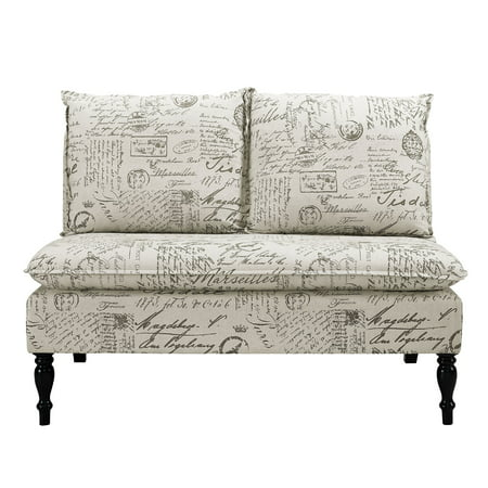 Surprising Dual Pillow Back Bench In Black And White French Script Caraccident5 Cool Chair Designs And Ideas Caraccident5Info
