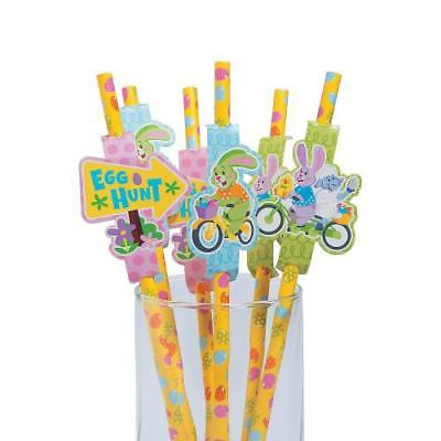 Easter Paper Straws with Cutouts 2PK 24pcs/pk