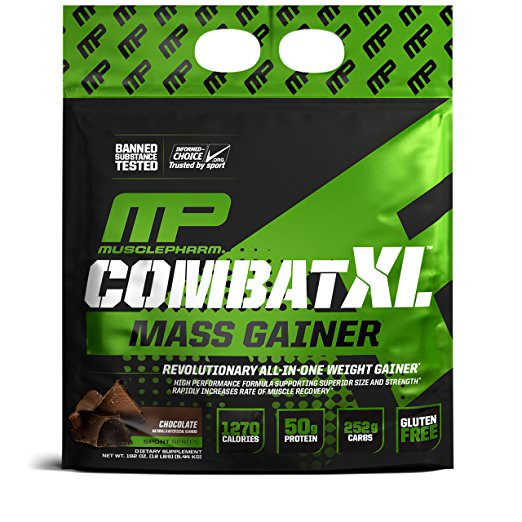 MusclePharm Combat XL Mass Gainer Protein Powder, Chocolate, 50g Protein, 12 Lb