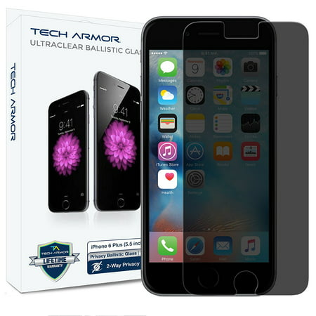 iPhone 6S Plus Glass Screen Protector, Tech Armor Privacy Ballistic Glass Apple iPhone 6S Plus / iPhone 6 Plus (5.5-inch) Screen Protectors